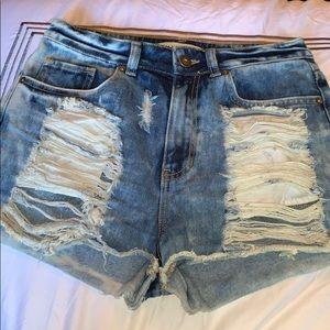 Bullhead Acid Wash Ripped Denim Shorts